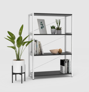 Pflanze steht neben Regal für Abstellraum mit 3 Fächern