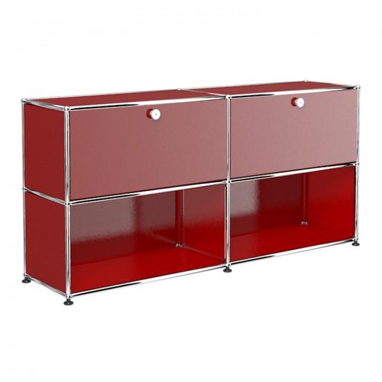 rotes Designer Regal mit zwei Schubladen